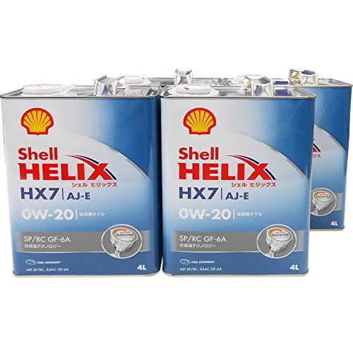 【4缶セット 0W20】 Shell HELIX ヒリックス HX7 AJ-E 0W-20 SP/RC GF-6A エンジンオイル 4L×4缶 合成油(XHVI) 国内正規品