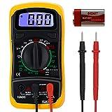 TekSky XL830L Digital Multimeter - Portable, Backlit LCD, Non-Slip Sleeve, Various Functions, 9V Battery Included - Multi Tester for AC/DC Current Resistance Diodes Transistor (Intelligent Anti-burn)