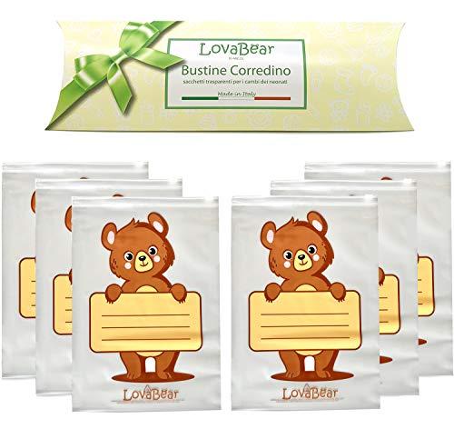 Lovabear - 6 bolsitas con cordón para bebé – Bolsas nacaradas, bolsas ovaladas de nacimiento, cierre con cursor hermético, 6 unidades para el cambio de ropa