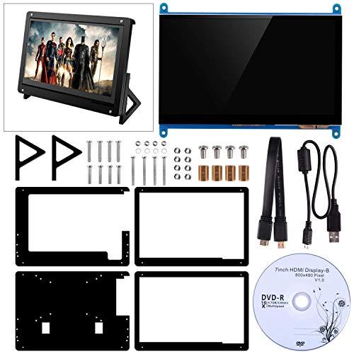 Kuman per Raspberry Pi, Touch Screen Capacitivo LCD HDMI Input 1024x600 Display con Supporto in Acrilico SC7BC