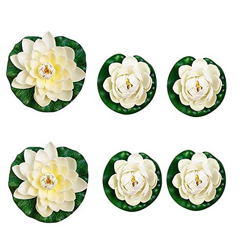 Schwimmende Blumen,künstliche Seerosen Schwimmend,Schwimmende Seerose Klein,Chwimmende Aquarium Pflanzen,Lotus Blume Deko,Künstliche Teichpflanzen Klein(6 Stück)
