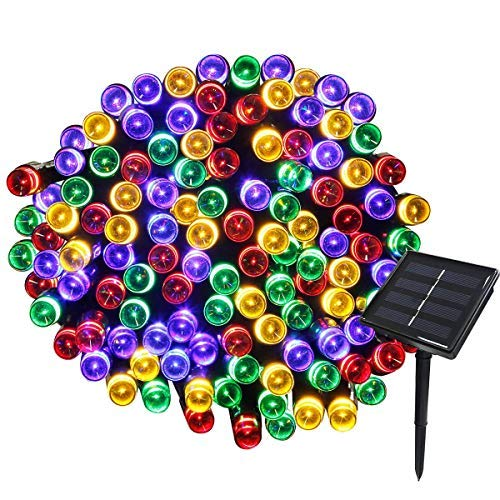 Solar Fairy Lights,72ft 200leds Garden Ornaments Ip44 Waterproof Solar Powered Starry String Lights for Indoor/Outdoor Fence Festoon Gardens Path Homes Christmas Wedding Party Decor-Colorful