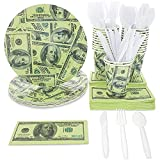 Money Party Supplies, Dinner Plates, Cutlery Set, Paper Cups, and Luncheon Napkins (Serves 24, 144 Pieces)