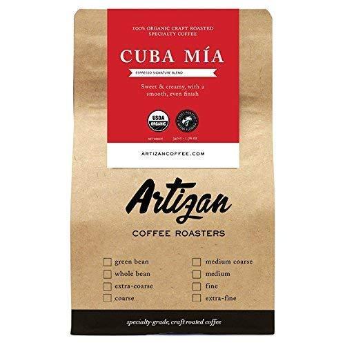 100% Organic Authentic Cuban Espresso - Cafe Cubano Cafecito - Intense Dark Roast - Cuba Mia Signature Blend - Whole Bean - Roasted in Miami, FL 12 oz