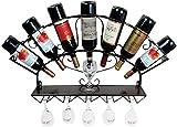 XYNB Support à vin Mural, Support de gobelet Suspendu à vin Rouge en Fer forgé pour présentoir de Bar à vin Moderne, 83 * 13 * 40cm (Couleur, Noir), Bronze
