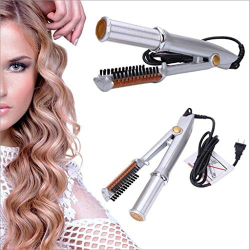 EASTR Hair Curler and Straightener 2 in 1 1-Way Rotating Straightening and Styling Iron Ceramic Thermostat Dry and Wet Hairbrush 100-240v