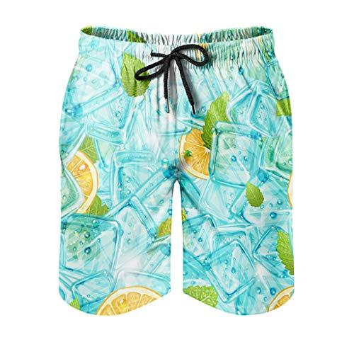 Elucassi Herren Sommer Ice Beach Short Stilvoll mit Tasche Strandkleidung weiß XL