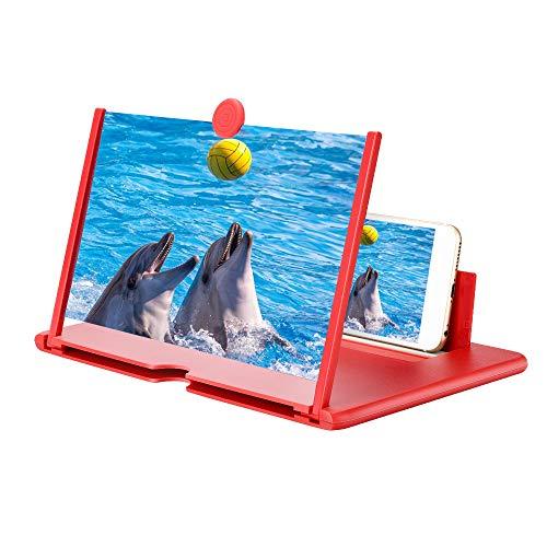 Handy Vergrößerungs Bildschirm Screen Magnifier Smartwatch Projektor Vergrößerungsglas Telefonhalter Pull-Typ 12 Zoll Bildschirmlupe für Smartphone(red/Blue/White)