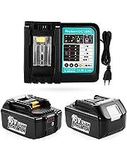 ENERGUP 2 stuks 18V 5.5Ah reserveaccu met 3A lader voor Makita 18V accu BL1850 BL1840 BL1830 BL1820 BL1815 BL1860 gereedschapsaccu met LED-indicator