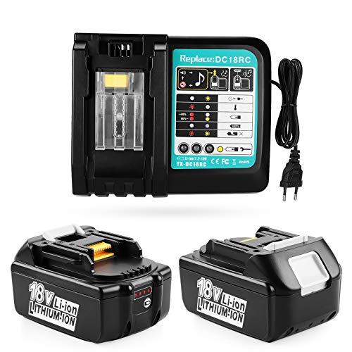 ENERGUP 2 baterías de repuesto de 18 V y 5,5 Ah con cargador de 3 A para baterías Makita BL1850, BL1840, BL1830, BL1820, BL1815 y BL1860 con indicador LED