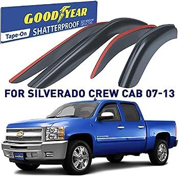 Goodyear Shatterproof Window Deflectors for Trucks Chevrolet Silverado/GMC Sierra 2007-2013 Crew Cab Tape-on Rain Guards Window Visors Vent Deflector Vent Visor Truck Accessories 4 pcs- GY003100