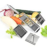 COKEA 4 en 1 multiusos cortador de verduras Set queso rallador verduras cortador repollo trituradora cocina mandolina acero inoxidable cuchillas intercambiables