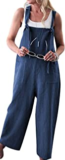 TOP-MAX Women's Jumpsuits, Casual Long Rompers Wide Leg Baggy Bibs Overalls Harem Pants - Plus Cotton Linen Jumpsuits Black