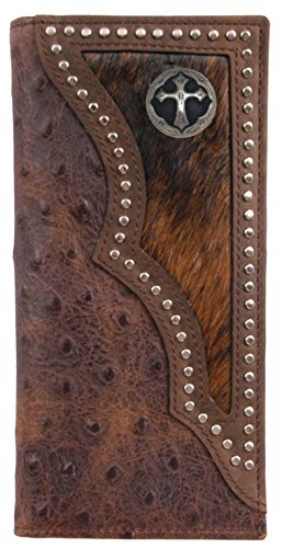 Custom Ornate Cross Long Ostrich print wallet with hair and hide inlay
