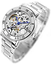 GuTe出品 腕時計 レディース 自動巻き(手巻き) スケルトン アンティーク 革バンド 上品 白い 機械式