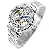 GuTe出品 腕時計 レディース 自動巻き(手巻き) スケルトン アンティーク ステンレスバンド 上品 シルバー 機械式