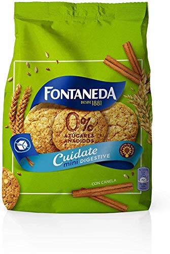 Fontaneda Digestive - Galletas Cuídate Mini, con Canela y 0% Azúcares Añadidos Paquete de 250 g