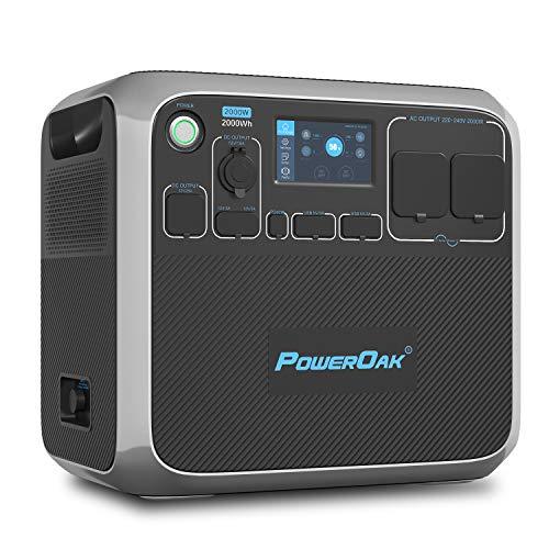 POWEROAK Tragbares Powerstation AC200P Solaranlage Komplettset 700W PV max. LiFePO4 Akku Pack 2000Wh mit 2 STK. 2000W Wechselstromsteckdosen (4800W Spitzenwert) für Wohnmobile im Freien