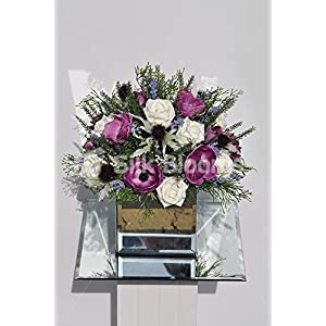 Whimsical Anemones Roses Heather Scottish Table Cube Display