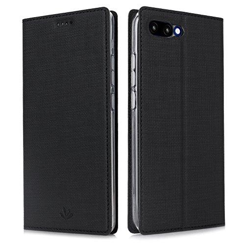 Eastcoo Kompatibel Huawei Honor 10 Hülle Flip Folio Wallet Leder Case Tasche Schutzhülle Handyhülle mit [Standfunktion][Magnetic Closure] für Huawei Honor 10 Smartphone(Honor 10,Black)