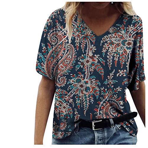 Bringbring T Shirt Femme Fluide Chic Elegante Fleuri Imprimée Ample Col en V Pas Cher Chemisier Baggy TopsTendance Oversize Manche Courte Eté Caftan Chemisie Tops All-Match Tee Shirt