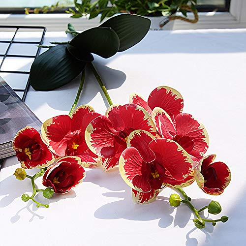JINGERL Artificial Flowers Plastic Orchid Wedding Decoration 2 Branches with Leaves Natural Orchids Fake Flowers Home Garden Decorations (Colour: Red)