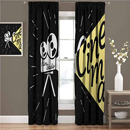 """Movie Theater best home fashion thermal insulated blackout curtains Movie Projector Sketch with Grunge Cinema Lettering on Black Backdrop Only your style choice W96""""xL84"""" Yellow Black White"""
