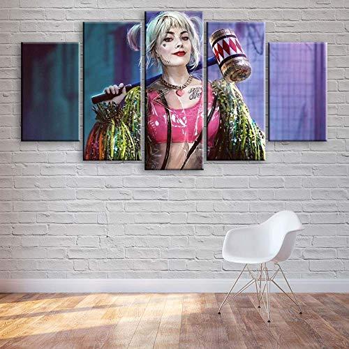 KOPASD 5 Piezas Pintura De Pared Sala De Estar De Arte Personajes de la película de Superhero HD Print De Decoración para El Hogar para (Enmarcado Tamaño 150x80cm)