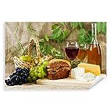 Postereck - 0927 - Picknick, Wein Käse Trauben Obst Brot