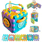 FEEMOM Baby Activity Cube, 6 in 1 Shape Sorter Blocks Baby Toy 18 Months and Up, Music Learning Preschool Toys for Kids Toddlers Infant , Early Educational Puzzle Development Sorting Cube