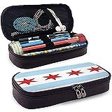 Leder-Federmäppchen Chicago Flag White Red Pouch Holder Box Reisetasche