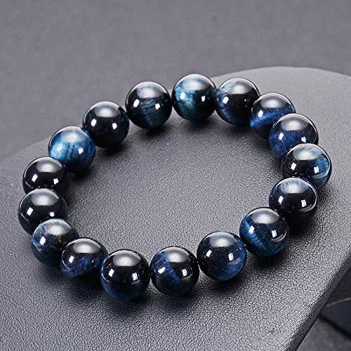 6mm 8mm 10mm 12mm Royal Blue Tiger eyes Beads Bracelet Men Charm Natural Stone Braslet For Man Handmade Jewelry-12mm_21cm