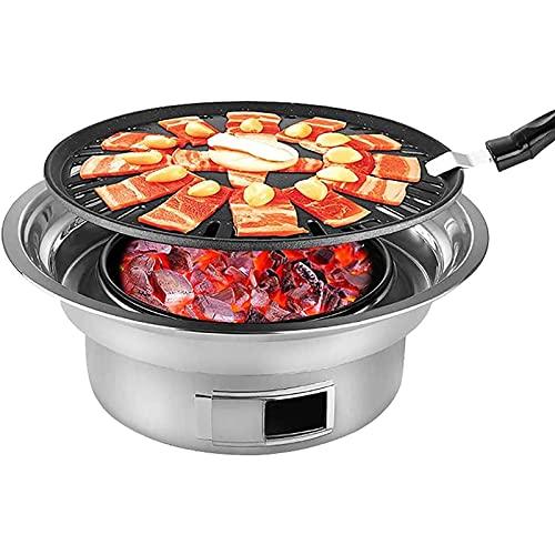 PytrMHI - Griglia a carbone in acciaio inox, portatile, da tavolo, per affumicatore all'aperto, barbecue da campeggio (teglia + griglia), per cucina all'aperto, campeggio, picnic, grande