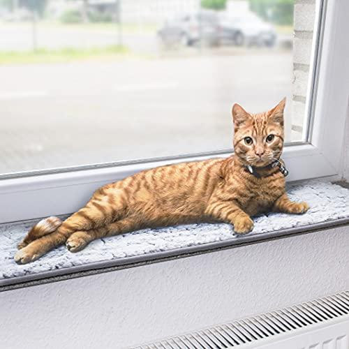 CanadianCat Company ® | Liegermatte für Fensterbank | hellgrau | XXL 90 x 28 cm | Katzen | Fensterbett | Fensterkissen