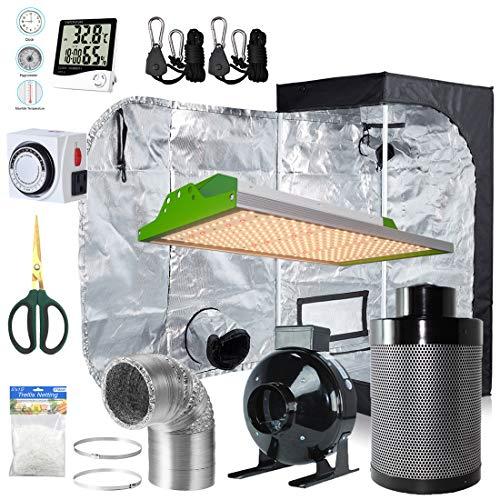 BloomGrow Alphapar New Tech Pro Full Spectrum Sunlike 100W LED Grow Light Kit + 24''x24''x48'' Grow Tent + 4'' Fan Filter Ventilation Kit Indoor Plant Growing Complete Package