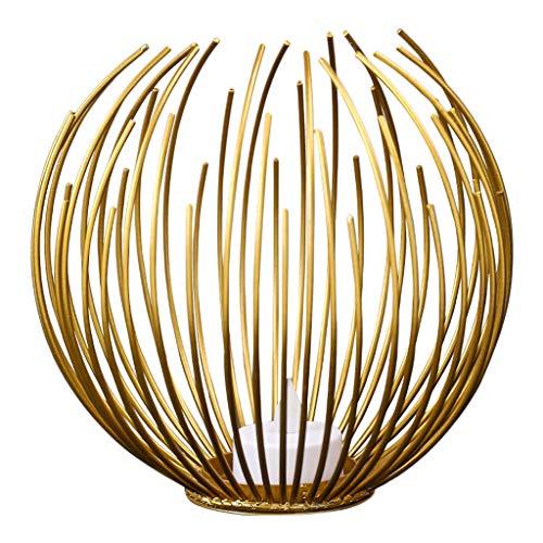 F Fityle LED Flammenlose Kerzen mit Draht Teelichthalter Kerzenhalter Kerzenständer Metall Tischdekoration Laterne Ornament - Gold