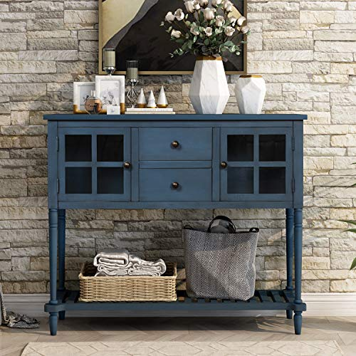 P PURLOVE Console Table Sideboard Table with Drawers and Bottom Shelf Rustic Wood Buffet Storage Cabinet with Drawer for Living Room Entryway (Antique Navy)