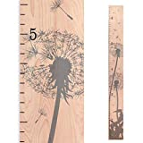 Growth Chart Art | Wooden Growth Chart Girls + Boys | Measuring Kids Height Wall Décor | Flower Growth Chart Ruler | Gray Dandelion Flower Height Chart