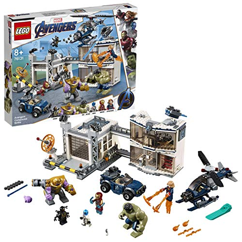 LEGO Super Heroes Avengers: Battaglia nel Quartier Generale, Figure di Thanos e Hulk, Minifigure di Iron Man, Captain Marvel e Nebula, 76131