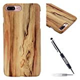 JAWSEU Coque iPhone 8 Plus,Etui iPhone 7 Plus Dur Rigide Hard Case Créatif Raffinement Bois Coque Case Ultra Mince Hard Cover Wood Case Bumper Case Anti Scratch Résistant Coque Housse,#2