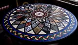 Mesa de sofá redonda de mármol negro con Pietra Dura Art hecha a mano hermosa mirada mesa de comedor para el hogar de 72 pulgadas