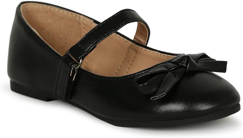 Alrisco Little/Big Girls Bow Tie Mary Jane Ballerina Flat SG43 - Black Leatherette (Size: 12 Little Kid)