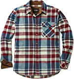 CQR CLSL Men's All Cotton Flannel Shirt, Long Sleeve Casual Button Up Plaid Shirt, Brushed Soft Outdoor Shirts, Unique(hof110) - Vintage Wine, Large