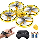 SGILE fjernbetjent drone med 2 udskiftningsbatteri, RC drone med LED, 360 ° flip, tyngdekraftssensor, kasteflyvende quadrocopter med infrarød forhindring af hinder for drenge piger vækket gave