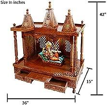 Aarsun Woods Wooden Rosewood Fully Folding Pooja Temple Prayer Unit/Mandir (Brown)