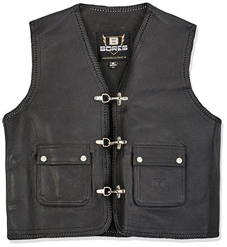 Bores Sunride 3 Rinder Lederweste, Aufgesetzte Taschen, Schwarz, Größe 5XL
