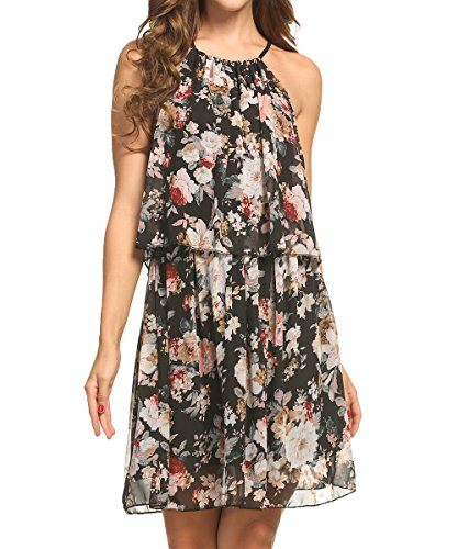 ACEVOG Women Casual Loose Floral Summer Beach Dresses Chiffon Pleated Sleeveless Halter Sundresses