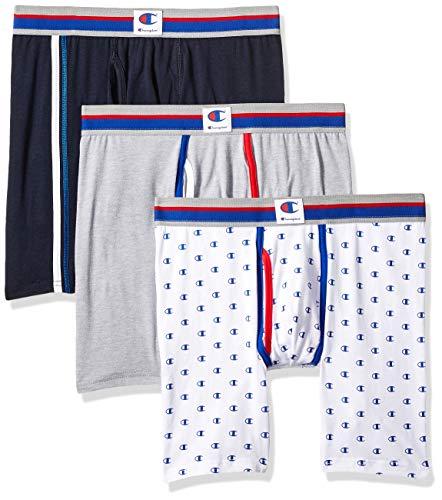 Champion Men's Everyday Comfort Cotton Stretch Boxer Briefs 3-Pack, Estate Blue/Greyheather/White C Print, Medium
