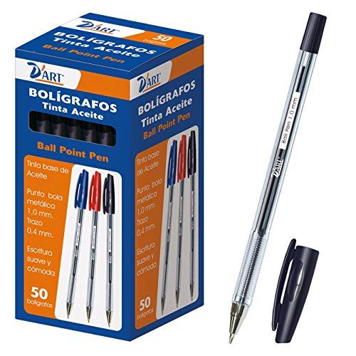 D'Art 79411 - Caja de bolígrafos, 1 mm, 50 unidades, color negro
