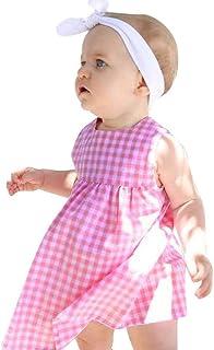 Yeach 子供服 女の子 70-100 0-2歳 ノースリーブ 無地 格子 スカート ドレス 姫様 普段着 写真 人気 誕生日プレゼント